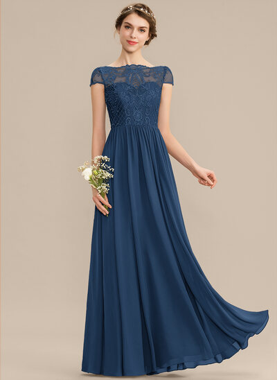 A-Line Scoop Neck Floor-Length Chiffon Lace Bridesmaid Dress
