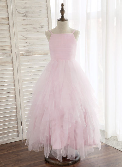 A-Line/Princess Ankle-length Flower Girl Dress - Tulle Sleeveless Straps