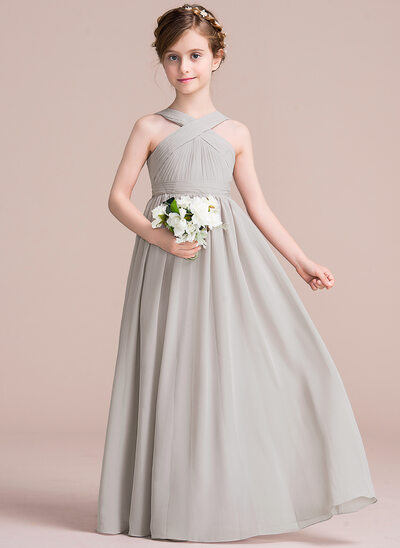 d21f30241ad A-Line V-neck Floor-Length Chiffon Junior Bridesmaid Dress With Ruffle Bow