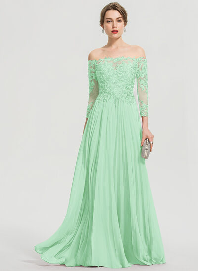 A-Line Off-the-Shoulder Floor-Length Chiffon Prom Dresses With Sequins Pleated