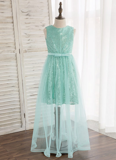 A-Line/Princess Floor-length Flower Girl Dress - Tulle/Sequined Sleeveless Scoop Neck With Bow(s)