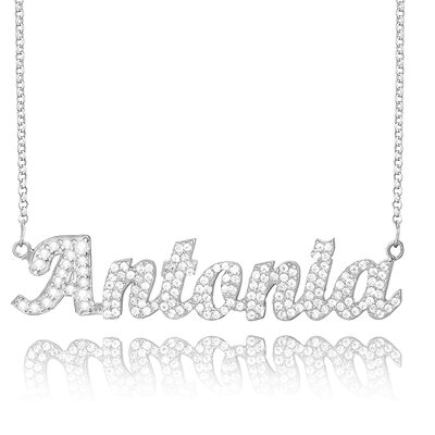 [Free Shipping]Custom Sterling Silver Name Necklace With Diamond (288213035)-Christmas Gifts