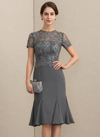 Sheath/Column Scoop Neck Knee-Length Chiffon Lace Cocktail Dress With Beading Sequins