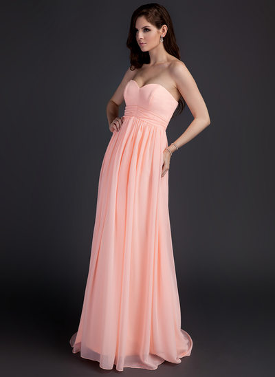 Empire Sweetheart Sweep Train Chiffon Maternity Bridesmaid Dress With Ruffle