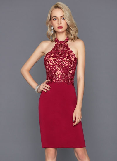Sheath/Column Halter Knee-Length Jersey Cocktail Dress