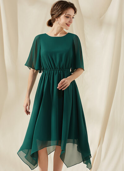A-Line Scoop Neck Tea-Length Chiffon Bridesmaid Dress With Ruffle