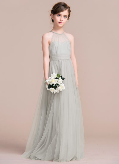 A-Line/Princess Floor-length Flower Girl Dress - Tulle Sleeveless Scoop Neck With Ruffles