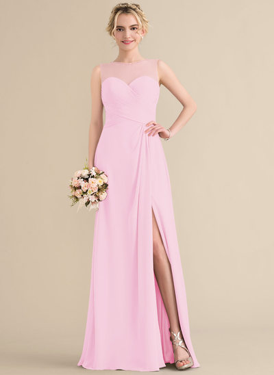 A-Line Scoop Neck Floor-Length Chiffon Bridesmaid Dress With Ruffle Beading Sequins Split Front