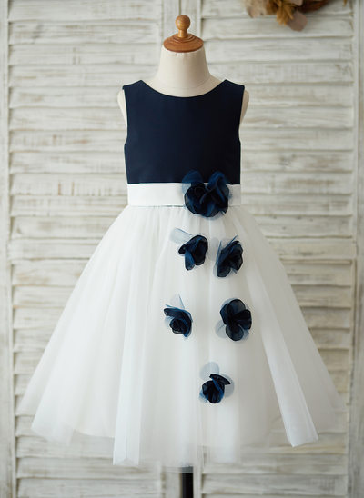 A-Line/Princess Knee-length Flower Girl Dress - Satin/Tulle Sleeveless Scoop Neck With Flower(s) (Undetachable sash)