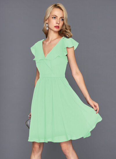 A-Line V-neck Knee-Length Chiffon Homecoming Dress With Cascading Ruffles