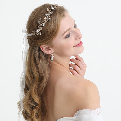 Ladies Unique Rhinestone/Alloy/Imitation Pearls Headbands With Rhinestone/Venetian Pearl (Sold in single piece)