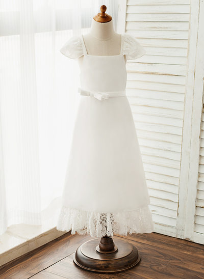 A-Line/Princess Ankle-length Flower Girl Dress - Chiffon/Lace Short Sleeves Square Neckline With Lace/Bow(s)