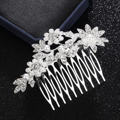 Ladies Classic Alloy Combs & Barrettes With Rhinestone/Venetian Pearl (Sold in single piece)