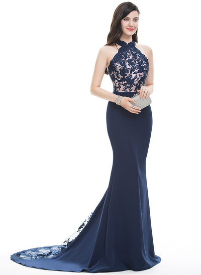 Trumpet/Mermaid Halter Court Train Satin Prom Dresses