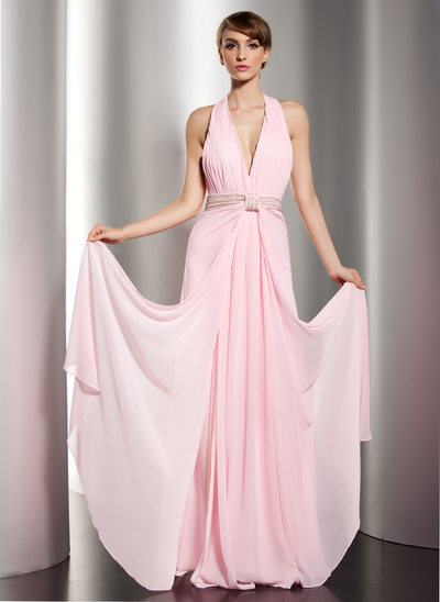 A-Line/Princess Halter Floor-Length Chiffon Holiday Dress With Ruffle Beading