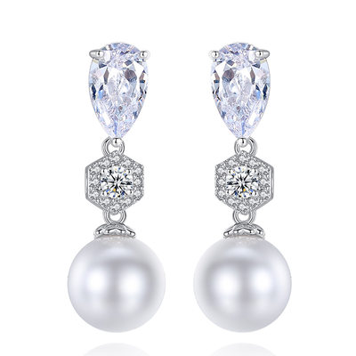Fashionable Copper/Zircon Ladies' Earrings