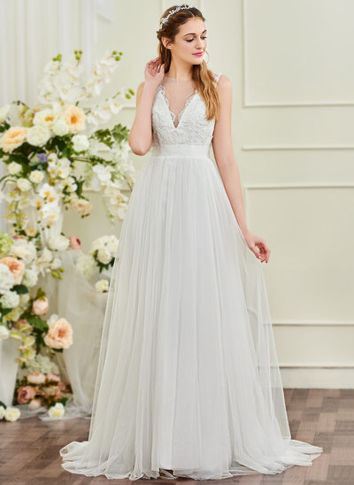 A-Line Scoop Neck Sweep Train Tulle Wedding Dress