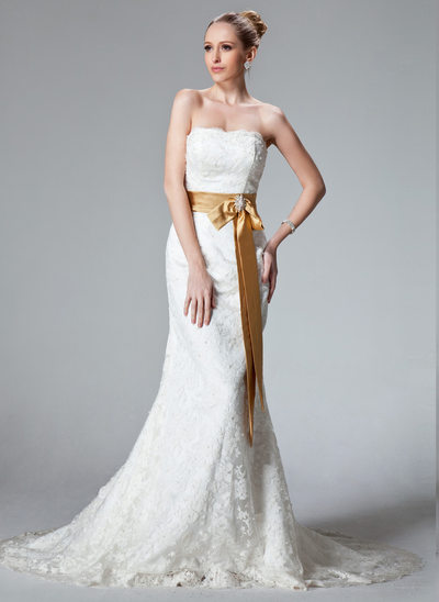 Trumpet/Mermaid Strapless Court Train Lace Wedding Dress With Sash Beading Bow(s)