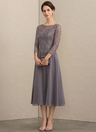 A-Line Scoop Neck Tea-Length Chiffon Lace Mother of the Bride Dress With 8a8343cf260c