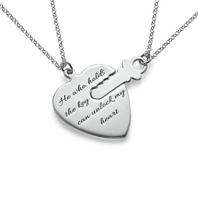 Personalized Couples' Eternal Love 925 Sterling Silver With Heart Engraved Necklaces Necklaces For Bride/For Couple