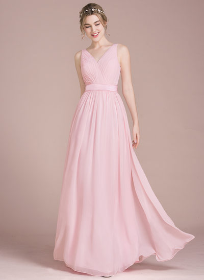 A-Line/Princess V-neck Floor-Length Chiffon Bridesmaid Dress With Ruffle Bow(s)