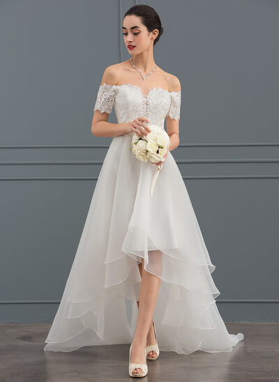 A-Line/Princess Off-the-Shoulder Asymmetrical Organza Wedding Dress With Sequins