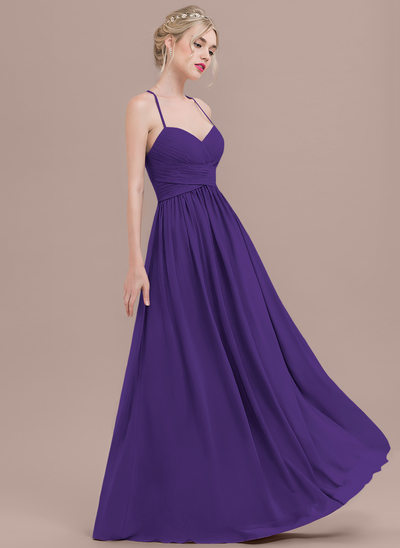 A-Line/Princess Sweetheart Floor-Length Chiffon Prom Dresses With Ruffle