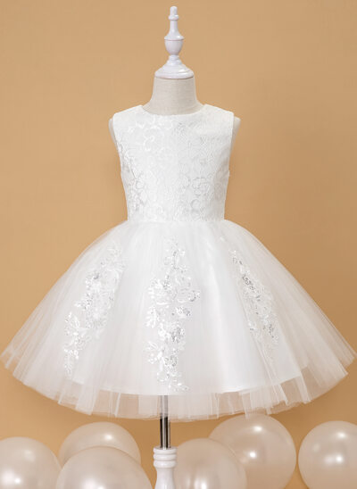Ball-Gown/Princess Knee-length Flower Girl Dress - Tulle Sleeveless Scoop Neck With Lace/Sequins