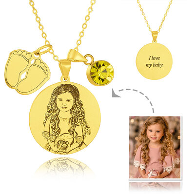 Custom 18k Gold Plated Silver Circle Tag Black And White Photo Engraved Birthstone Necklace Engraved Necklace Circle Necklace Photo Necklace With Birthstone Baby Feet - Birthday Gifts