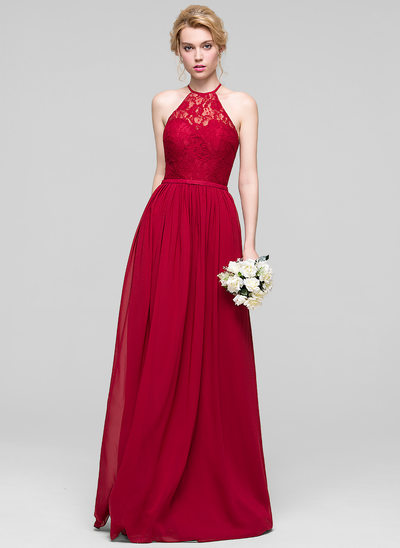 A-Line/Princess Scoop Neck Floor-Length Chiffon Bridesmaid Dress