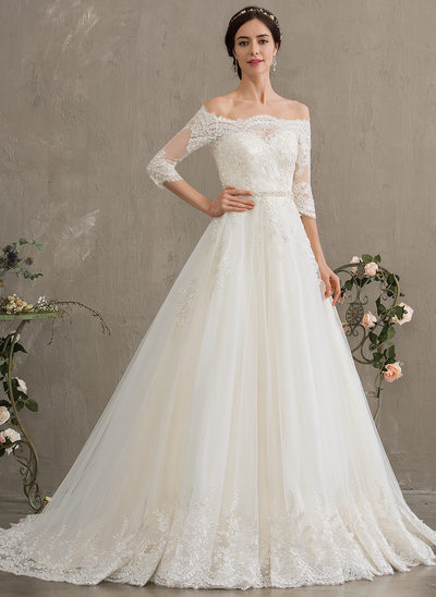 4cf390a60f Ball-Gown Princess Off-the-Shoulder Court Train Tulle Wedding Dress With New