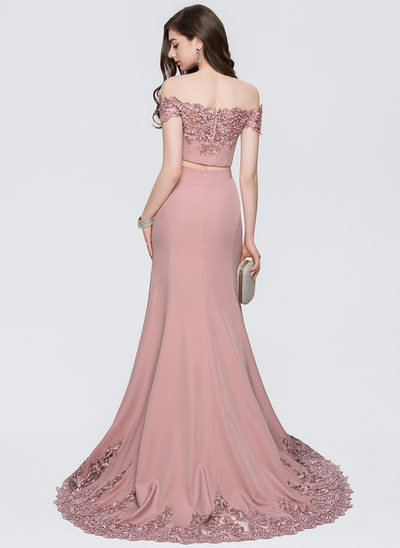 Trumpet/Mermaid Off-the-Shoulder Sweep Train Satin Prom Dresses With Lace Beading Sequins