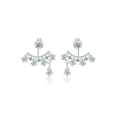 Ladies' Sparking 925 Sterling Silver/Cubic Zirconia With Round Cubic Zirconia Earrings For Her