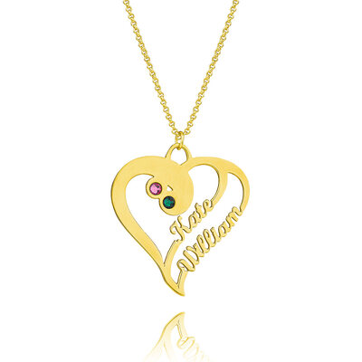 [Free Shipping]Christmas Gifts For Her-Custom 18k Gold Plated Silver Two Name Necklace Heart Necklace Birthstone Necklace (288219222)