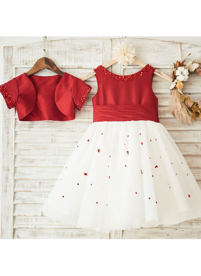 A-Line/Princess Knee-length Flower Girl Dress - Satin Sleeveless Scoop Neck With Sequins/Pleated (Wrap included)