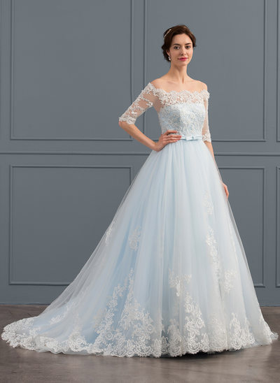 Ball-Gown Off-the-Shoulder Court Train Tulle Wedding Dress With Beading Sequins Bow(s)
