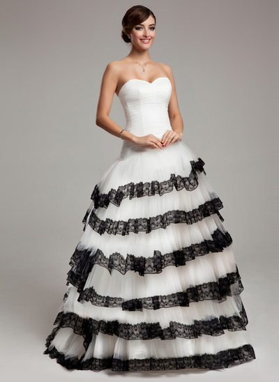 Ball-Gown Sweetheart Sweep Train Tulle Quinceanera Dress With Lace Cascading Ruffles