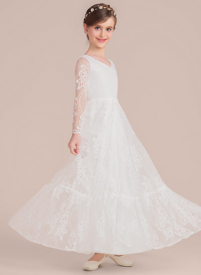 A-Line/Princess Floor-length Flower Girl Dress - Lace Long Sleeves V-neck