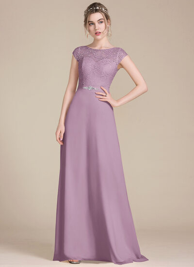 A-Line/Princess Scoop Neck Floor-Length Chiffon Lace Bridesmaid Dress With Beading Bow(s)