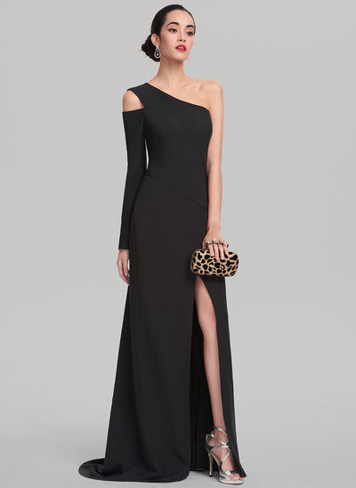 Sheath/Column One-Shoulder Sweep Train Stretch Crepe Evening Dress