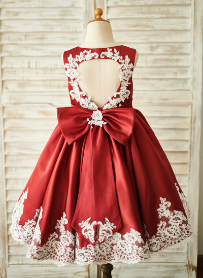 A-Line Knee-length Flower Girl Dress - Satin/Lace Sleeveless Scoop Neck With Back Hole