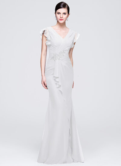 Trumpet/Mermaid V-neck Floor-Length Chiffon Evening Dress With Ruffle Beading Appliques Lace Sequins Cascading Ruffles
