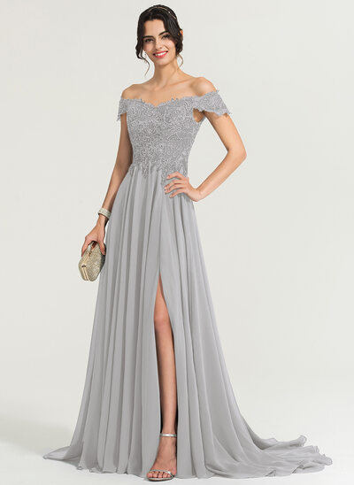 A-Line Off-the-Shoulder Sweep Train Chiffon Prom Dresses With Sequins Split Front