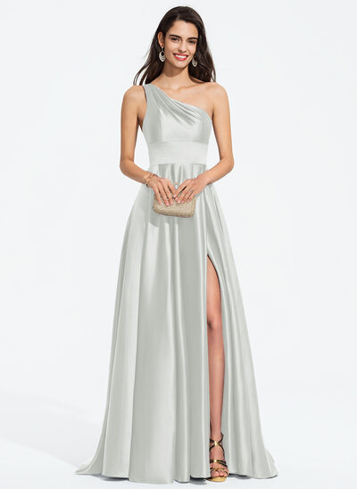A-Line One-Shoulder Sweep Train Satin Prom Dresses With Split Front