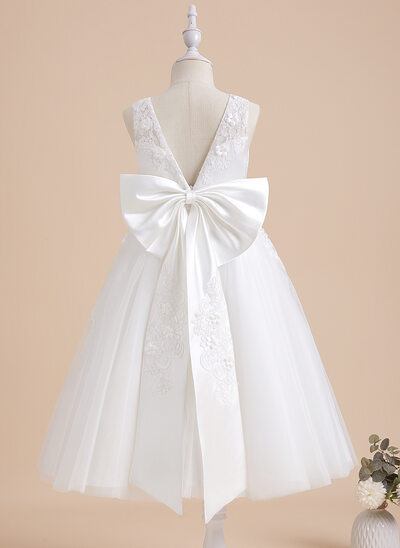 A-Line Tea-length Flower Girl Dress - Lace Sleeveless With Beading/Flower(s)/Bow(s)