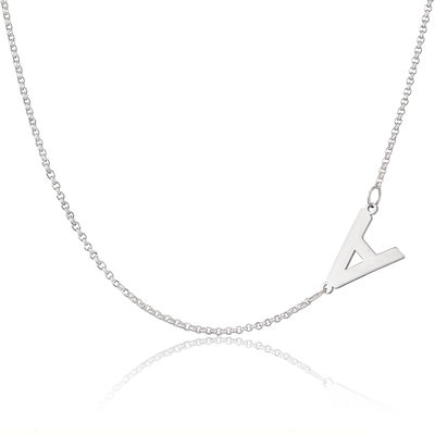 Custom Sterling Silver Letter Sideways Initial Necklace - Christmas Gifts