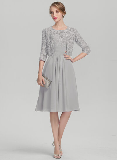 A-Line Scoop Neck Knee-Length Chiffon Lace Mother of the Bride Dress With Ruffle
