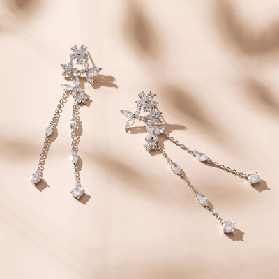 Ladies' Shining Copper/Zircon Earrings