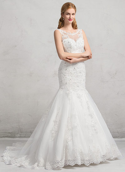 Trumpet/Mermaid Illusion Chapel Train Tulle Lace Wedding Dress With Beading Sequins