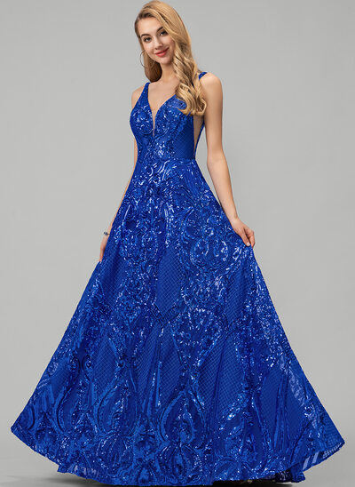 A-Line V-neck Floor-Length Sequined Prom Dresses
